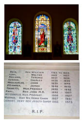 Stained glass windows of St. Margaret of Scotland, The Good Shepherd and St. John Oglivie with the memorial window.